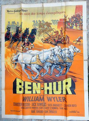 Ben-Hur (1959, W. Wyler) Affiche originale française mythique de Roger Soubie. Pliée, A restaurer très abîmée. Taille 120 x 160 cm